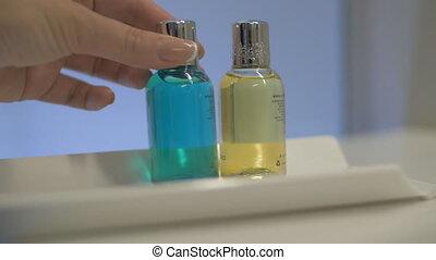 Bath set of four bottles in hotel - Close-up shot of...