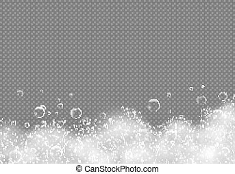 Bath shampoo foam with bubbles isolated on transparent background. Vector illustration white soap water