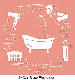Bath, shower, dryer, washcloths, towel, basket. - Bathroom...