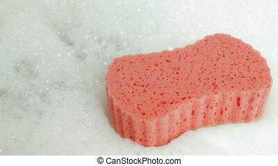 Bath Sponge and Bubble Bath, Closeup