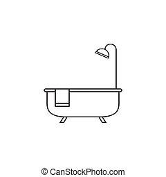 Bath thin line icon, outline vector logo illustration, linear pi