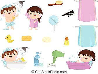 shower tub clipart. Bath Time Children And Set Of Collection Shower Tub Clipart