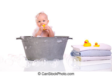 Bath Time. Cute happy baby girl having bath. Isolated on ...