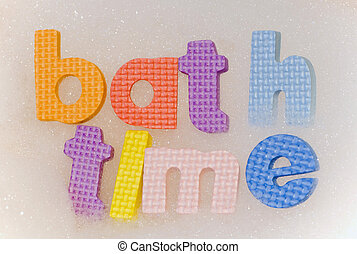 Bath time foam letters