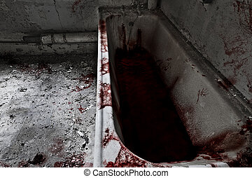 Bath Time - Old bathroom with bath full of blood and blood...