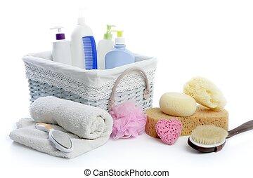 Bath toiletries basket with shower gel shampoo sponge and...