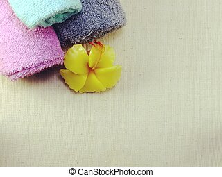 bath towel top view with space copy background