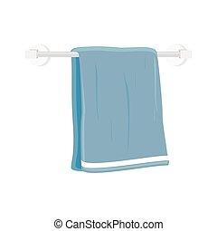 Bath towel vector - Vector illustration blue hand holder...