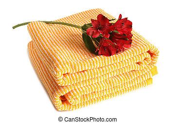 Bath towel with fresh Alstroemeria