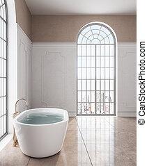 Bath tub in calssical bathroom