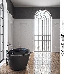 Bath tub in modern bathroom