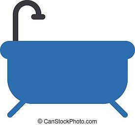bath tub vector glyph colour icon