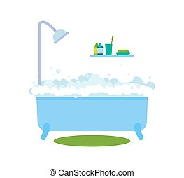 Bath with Bubbles Hot Water Vector Illustration