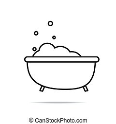 Bath with bubbles line icon. linear style sign for mobile concept and web design. Bathtub outline vector icon. Symbol, logo illustration