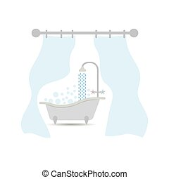 Bath with curtain. The bathroom with a Curtain for a bathroom or shower. Interior illustration on isolated background.