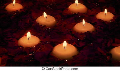 Bath With Flowers And Candles Moving - Dried rose petals and...