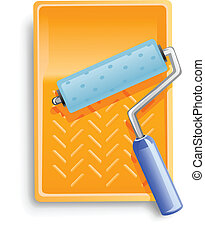bath with painter roller vector illustration isolated on ...