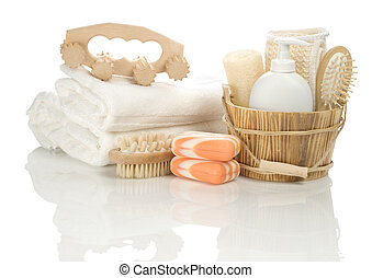 bathing accessories isolated