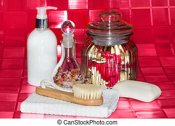 Bathing accessories still life