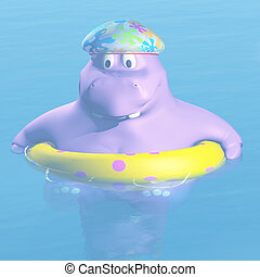 bathing hippo - 3d render