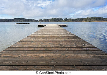 Bathing jetty on a lake in Bavaria, Germany