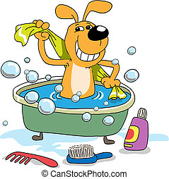 Bathing of a puppy - The cheerful puppy bathes in a bath