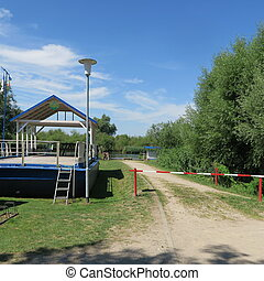 Bathing place without people in beautiful nature on the river Peene in Northern Germany Mecklenburg-Vorpommern