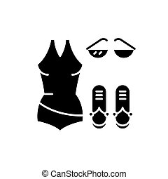 Bathing suit black icon, vector sign on isolated background....