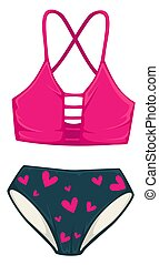 Bathing suit with high waist panties, summer fashion - ...