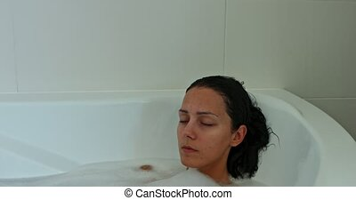 Bathing woman, home relax