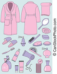 Bathrobe and objects for bathroom.Vector clothes and...