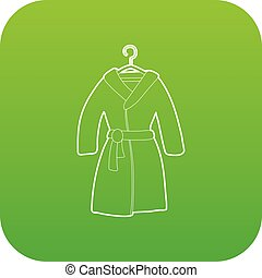 Bathrobe icon green vector