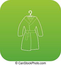 Bathrobe icon green vector