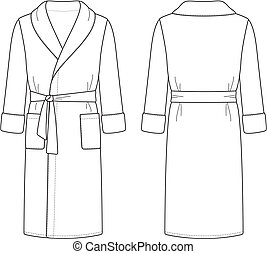 Vector illustration of men's bathrobe. Front and back views