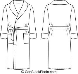 Bathrobe - Vector illustration of men's bathrobe. Front and ...