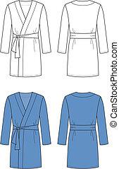 Bathrobe - Vector illustration of men's bathrobe. Front and...