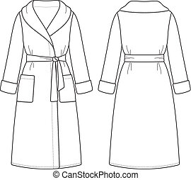 Bathrobe - Vector illustration of women's bathrobe. Front ...