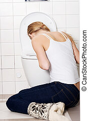 bathroom., コーカサス人, 女, 若い, 嘔吐