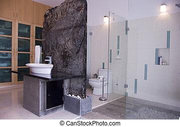 A modern bathroom with wardrobe