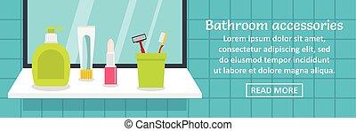 Bathroom accessories banner horizontal concept