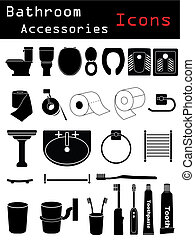 Bathroom Accessories - Bathroom icon set with many...