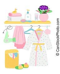 Bathroom accessories, hygiene items, bathrobe, laundry basket vector illustration