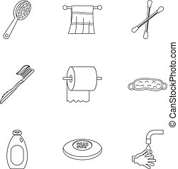 Bathroom accessories icons set, outline style