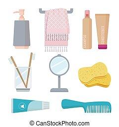 Bathroom accessories. Personal hygiene items toothbrush paste sponge towel gel soap vector cartoon set