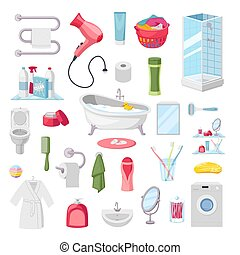 Bathroom accessories personal hygiene items, vector illustration