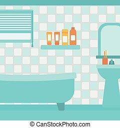 bathroom., achtergrond, particulier