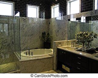 Bathroom - An elegant modern bathroom with marble