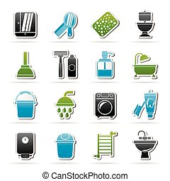 Bathroom and hygiene objects icons