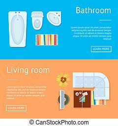Bathroom and Living Room Web Vector Illustration