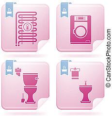 Bathroom Appliances - Bathroom theme icons set covering...